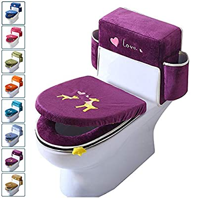 Toilet Seat Cover Cushion Three-Piece Toilet Seat Ice Silk Velvet Waterproof Toilet Seat Soft and Thick Washable Toilet Tank Cover Set Oval Toilet Seat Padded Toilet Seat,Purple