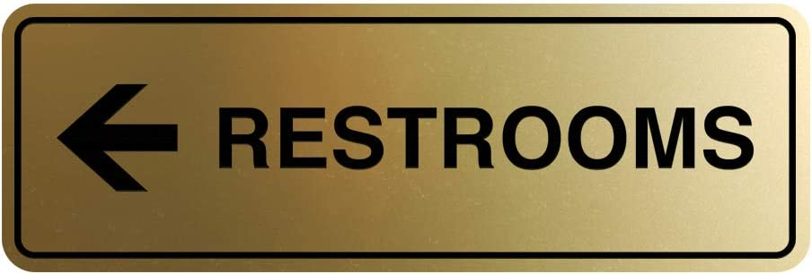 Black Left Arrow Sign - Large Signs ByLITA Standard Restroom