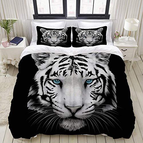 Rorun Bettbezug, schwarzes Thema Das Tusche- und Waschbild des weißen Tigers mit blauen Augen, Bettwäscheset Ultra Bequeme leichte Luxus-Mikrofasersets
