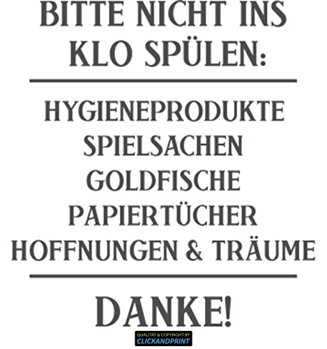 CLICKANDPRINT Aufkleber » Bitte Nicht ins Klo spülen:, 20x18,6cm, Dunkelgrau • Dekoaufkleber/Autoaufkleber/Sticker/Decal/Vinyl