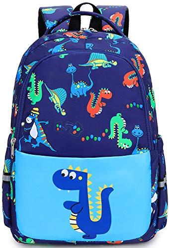 Preschool Backpack for Boys Little Kids kindergarten Dinosaur Backpack for Elementary School Book Bags with Chest Strap (Dinosaur Light Blue)