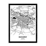 Nacnic Poster con Mapa de Bucharest - Rumania. Láminas de Ciudades de Europa con Mares y ríos en Color Negro. Tamaño A4