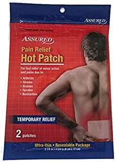 Pain Relief Hot Patch - Assured - Fast Relief of Aches & Pains Due to Arthritis, Strains, Bruises, Sprains, Backaches - 2 Patches 3 1/8 in X 4 5/8 in - Resealable Package by ASSURED