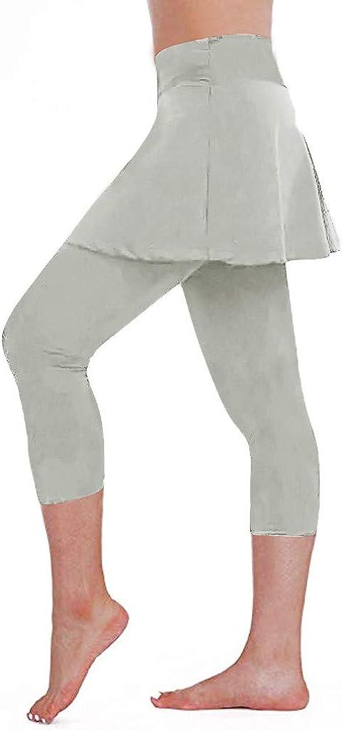 Skirted Legging for Women, F_Gotal Women's Yoga High Waist Tummy Control Legging with Skorts &Women Tennis Clothes