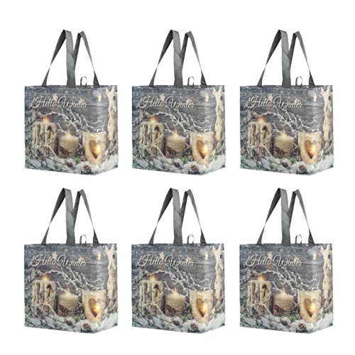 Reusable Grocery Bags Shopping Totes Heavy Duty Water Resistant Laminated Material Assorted Rustic Holiday Xmas Prints (Pack of 6)