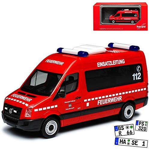 Volkwagen Crafter Transporter Hochdach Einsatzleitung Eschwege Feuerwehr Rot 2. Generation Ab 2016 H0 1/87 Herpa Modell Auto mit individiuellem Wunschkennzeichen