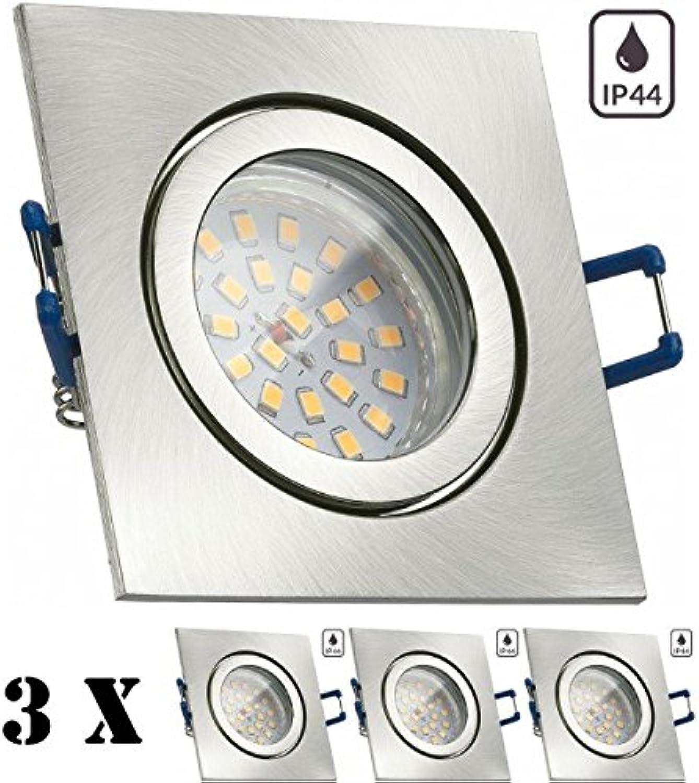 3er IP44 LED Einbaustrahler Set Silber gebürstet mit LED GU10 Markenstrahler von LEDANDO - 4,5W - warmweiss - 120° Abstrahlwinkel - Feuchtraum Badezimmer - 30W Ersatz - A+ - LED Spot 4,5 Watt - eckig