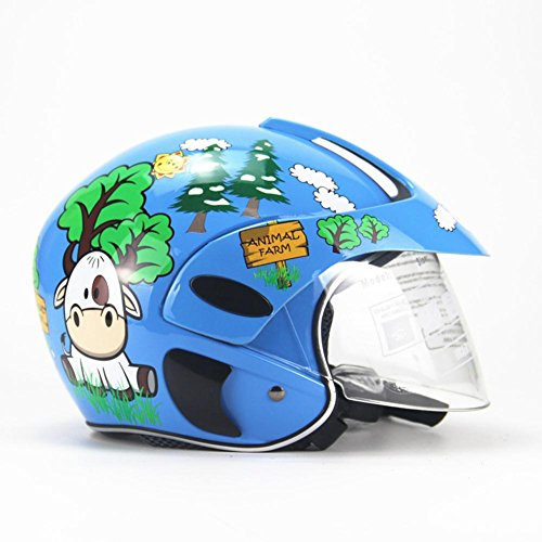 duhe189014 Kinder-Motorradhelm, Vier Jahreszeiten, Persönlichkeit, Integralhelm für Kinder für Jungen Mädchen Reiten Eiskunstlauf Motorrad blau