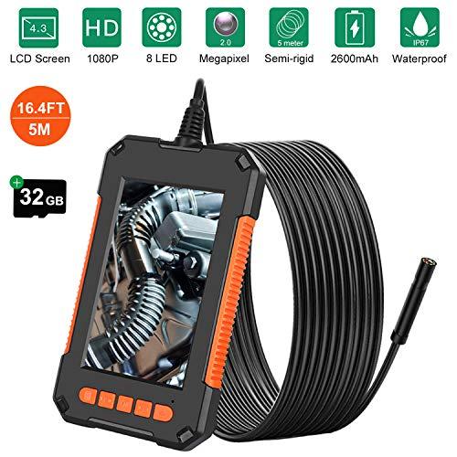 Endoscopio industriale,1080P HD telecamera impermeabile con boroscopio da 8 mm con schermo LCD da 4,3 pollici, 8 luci a LED, batteria da 2600 mAh, cavo semirigido da 16,4 piedi