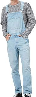 Men's Denim Bib Overalls Fashion Jeans Casual Slim Jumpsuit with Pockets Full Length Multi Pocket.(S-3XL)