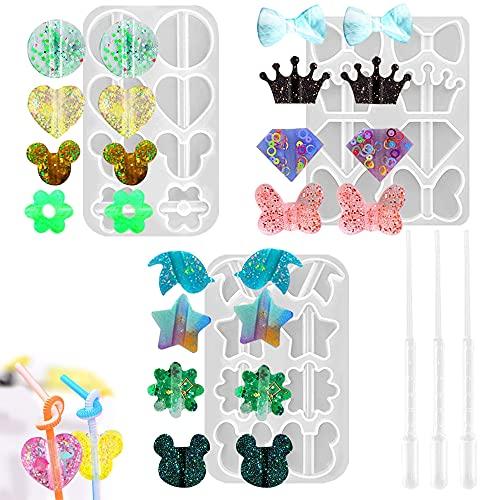 SENHAI 3 stampi in resina con 3 contagocce, vari modelli di decorazioni in paglia per cannucce da 8 mm, fai da te – fiocco nodo, corona, diamante, farfalla, fiori, cuore, stella, uccello