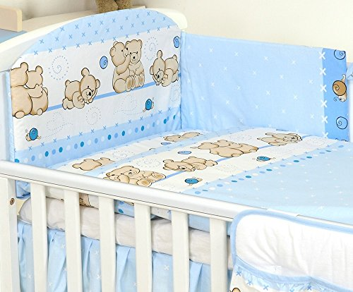 3 PIÈCES Ensemble literie pour lit d'enfant & lit bébé linge de lit 100% Coton (Nounours Bleus, 120x60cm)