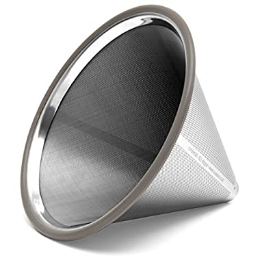Paperless Stainless Steel Pour Over Coffee Filter – Reusable and Permanent Coffee Cone Dripper for Ovalware, Chemex, Hario and Other Carafes (Stainless Steel)