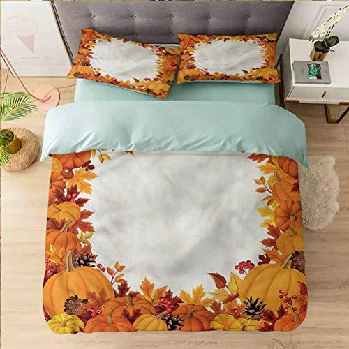 Aishare Store - Juego de funda de edredón de microfibra (1 funda de edredón y 2 fundas de almohada), diseño de calabaza y hojas, color blanco