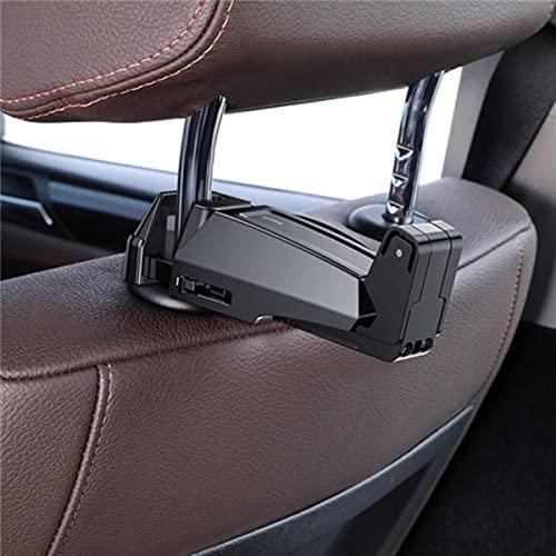 Gancho para reposacabezas de coche 2 en1 con soporte para teléfono Gancho para asiento trasero para bolso Sujetador de bolso Organizador de asiento trasero Clip multifunción-Negro