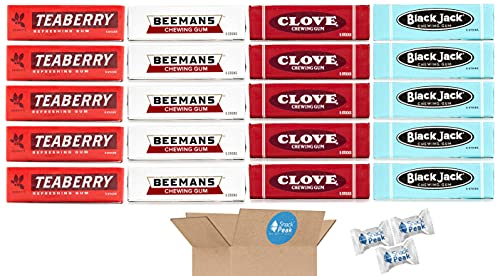Nostalgic Chewing Gum Snack Peak Variety Gift Box – Beemans, Clove, Black Jack and Teaberry