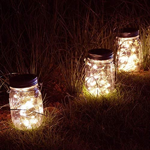 No-branded NDMCC 3pcs Solar Mason Jar Lid LED Fairy Light String Waterproof Garden Decor Light Christmas Party Decor Garland (Emitting Color : Color, Size : Free)