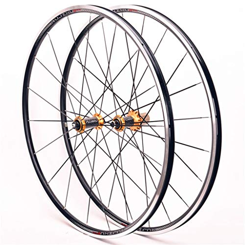 LSRRYD Ciclismo Ruedas Juego Ruedas Bicicleta 700C para Bicicleta Carretera Llantas Aleación Doble Pared Freno C/V 8-11 Velocidad Fibra Carbon Tarjeta Hub 6 Rodamiento Sellado QR 1545g (Color : Gold)