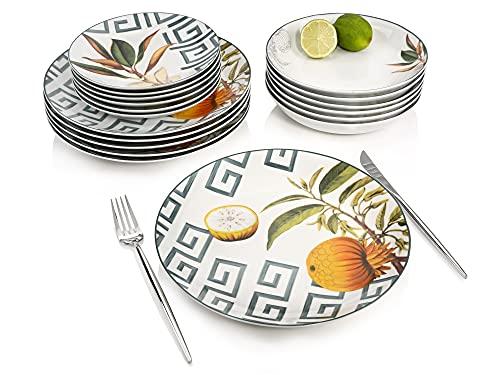 Sänger TafelserviceTaimali18teiligesService für6Personen aus Porzellan, Speise-, Dessertteller und Schalen, erweiterbar, Alltag, Dinner, Outdoor Teller-SetIllustrationen