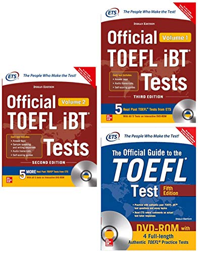 McGraw Hill 's TOEFL Preparation Combo - Official Guide, iBT Tests Volumes 1 & 2 with DVD (Set of 3 books)