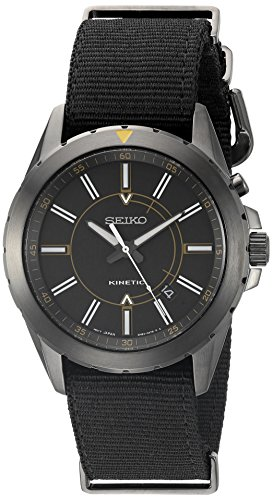 Seiko Men's SKA705 RECRAFT Kinetic Analog Display Japanese Quartz Black Watch