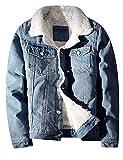 Lentta Men's Vintage Relax Fit Thick Fleece Sherpa Lined Denim Jean Jacket Coat (Large, Light Blue)