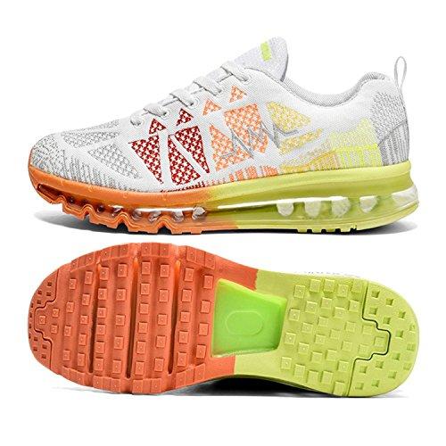 T-Gold Herren Damen Sneaker Laufschuhe Bequeme Atmungsaktiv Air Turnschuhe Fitness Sportschuhe (EU 41,Weiß)