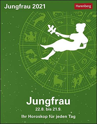 Jungfrau Sternzeichenkalender 2021 - Tagesabreißkalender mit ausführlichem Tageshoroskop und Zitaten - Tischkalender zum Aufstellen oder Aufhängen - Format 11 x 14 cm