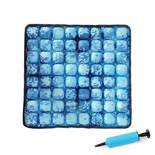 WYXR Cojín de ROHO Mosaico, cómodo cojín del Asiento Inflable para Silla de Oficina, sillas de Ruedas, Coches, Inicio de Estar, y el Dolor de Espalda Apoyo, la Almohadilla Ajustable con Lycra,Azul