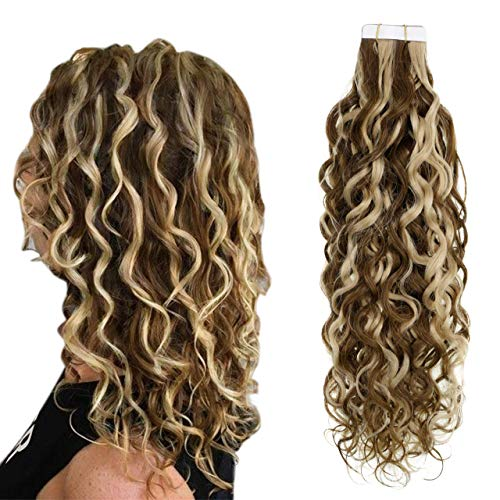 Easyouth Extensions de Cheveux Humains Tape In Hair Extension 14pouce Middle Brown Honey Blonde Curly 50g Extensions de Cheveux Humains