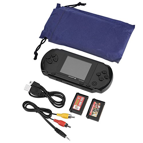 Zerone PXP3 Handheld-Spielkonsole, 16 Bit Portable Classic Spielkonsole LCD-Spiel-Player mit 2,7-Zoll-Farb-Digital-TFT-Bildschirm, 2 Spielekarten