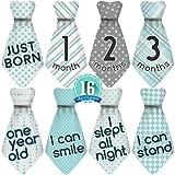 Original Stick'Nsnap (TM) 16 Baby Monthly Necktie Onesie Stickers - 'Happy Patterns' (TM), Blue/Turquoise/Gray. Milestones for 12 Months and 4 Milestones