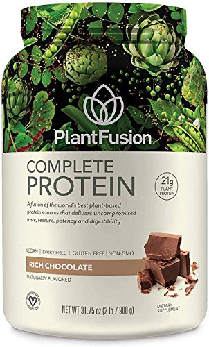 PlantFusion Complete Plant Based Pea Protein Powder, Non-GMO, Vegan, Dairy Free, Gluten Free, Soy Free, Allergy Free w/Digestive Enzyme, Dietary Supplement, Chocolate, 30 Servings, 2 Pound (Pack of 1)