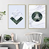 QLWLKJ Canvastavla Wall Art Måleri Geometrisk växt Grön Tropisk Blad Marmor Textur Bild Vardagsrum Heminredning Poster-60x80cmx2 Ingen ram