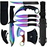 Blade Factory 7pc Rainbow Tactical Set   Fixed Blade Knife  Small Pakkawood Axe   Karambit Claw Knife   Spring Assisted Knife  3pc Throwing Knives   Holt Multi-tool Key Chain