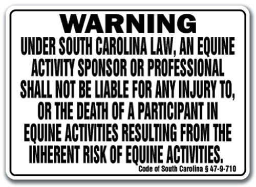 "South Carolina Equine Sign Activity Liability Warning Statute Horse Barn Stable, 10"" X 14"" Aluminum"