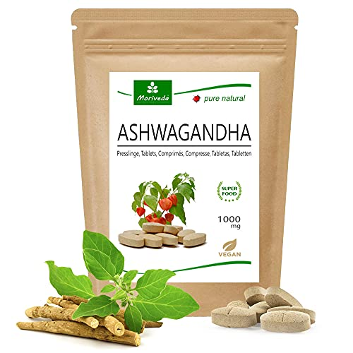 MoriVeda - Ashwagandha compresse 1000 mg o capsule 600 mg - prodotto naturale puro in alta qualità - ciliegia invernale, ginseng indiano (1x120 compresse)