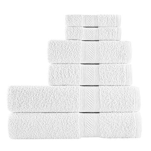 SweetNeedle - Uso diario Juego de toallas de 6 piezas, Blanco - 2 toallas de baño 70x140 CM, 2 toallas de mano 50x90 CM, 2 paño de lavado 30x30 CM - Algodón 100% ringings, peso pesado y absorbente