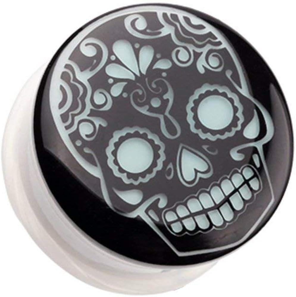Covet Jewelry Glow in The Dark Sugar Skull Single Flared Ear Gauge Plug