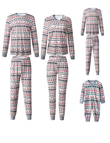 Xmas Christmas Family Matching Pajamas Set Santa Claus Sleepwear Classic Plaid Xmas Outfits for Adults,Kids,Newborn Baby (Reindeer, Woman-L)