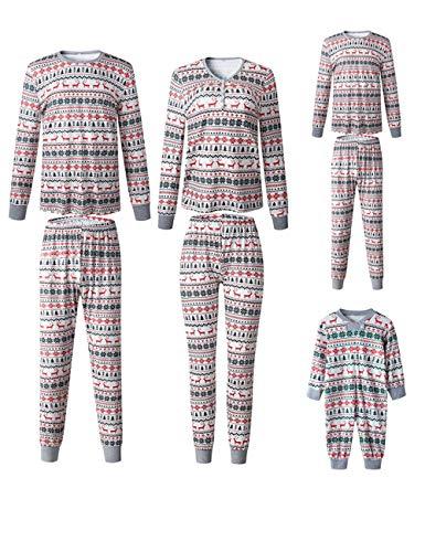 Xmas Christmas Family Matching Pajamas Set Santa Claus Sleepwear Classic Plaid Xmas Outfits for Adults,Kids,Newborn Baby (Reindeer, Woman-L)