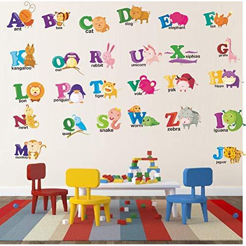 VIOYO Varios Animales De Dibujos Animados Abc Alfabeto Pegatinas De Pared Mono De Color Calcomanías De Canguro Niños Cuarto De Niños Regalos Para Bebés Decoración Para El Hogar Murales