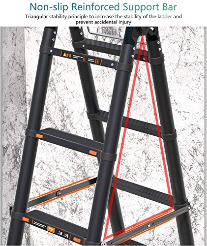 LADDERS Telescopic Tall Ladder with Stabiliser Bar and Hinge, Multi-Purpose Heavy Duty Folding Extension Ladders, for Loft Indoor Outdoor Office House