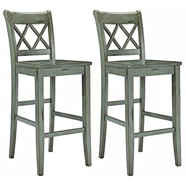 Ashley Furniture Signature Design - Mestler Bar Stool - Pub Height - Vintage Casual Style - Set of 2 - Blue/Green