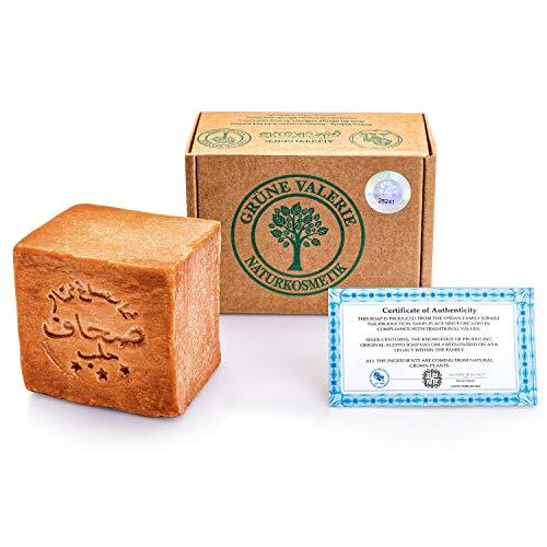 Grüne Valerie® Original Aleppo Seife 200g+ 20% / 80% Lorbeeröl/Olivenöl - Haarwaschseife/Duschseife PH Wert 8, Handarbeit -über 6 Jahre gereift, Bekannt aus dem Reformhaus!