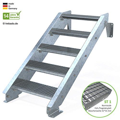 Außentreppe 5 Stufen 60 cm Laufbreite - ohne Geländer - Anstellhöhe variabel von 83 cm bis 100 cm - Gitterroststufe ST1 - feuerverzinkte Stahltreppe mit 600 mm Stufenlänge als montagefertiger Bausatz
