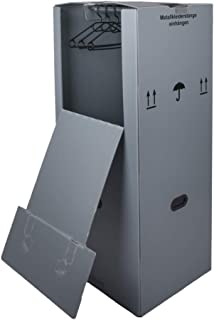 6 Kleiderboxen Kunststoff 600 x 510 x 1350 mm inkl. Kleiderstange Kleider Karton