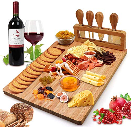 Bamboo Cheese Board Set with Cutlery Wooden Charcuterie Tray Platter...