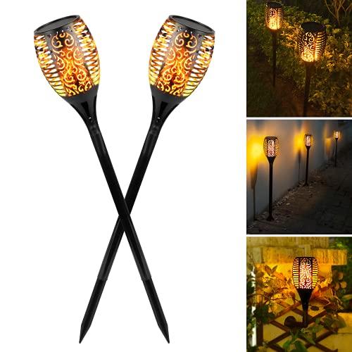 Albrillo Garten Fackeln 2 Stück - Solar Gartenleuchte mit Realistischen Flammeneffekt, Solarlampe als Gartenfackeln & Wandleuchte, Automatische Ein/Aus Gartenlicht, Wasserdicht IP55 für Außen