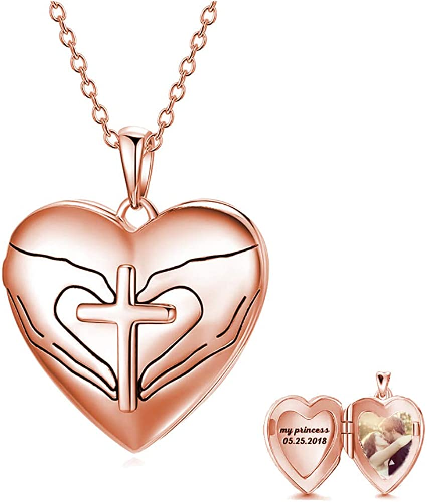 Heart Locket Necklace That Hold 日本全国 送料無料 2 Pictures 定価の67%OFF Sterling Silver 925 P